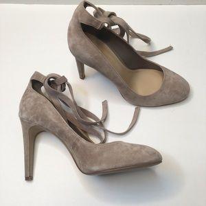 NWOT 7 BCBG grey suede ankle tie lace up heels